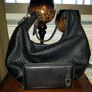 Black Guccissima Nice Handbag w/  Wallet